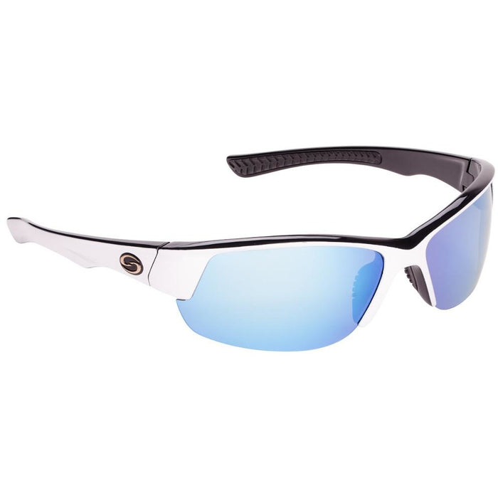 541-White Black Frame Blue Mirror Lens