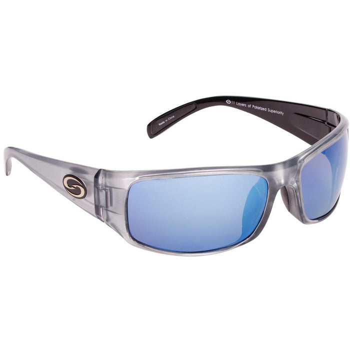 581-Clear Gray Frame Blue Mirror Lens