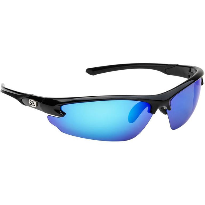 SG-SKP402 Shiny Black/Black Frame Revo White Blue Mirror Gray Lens