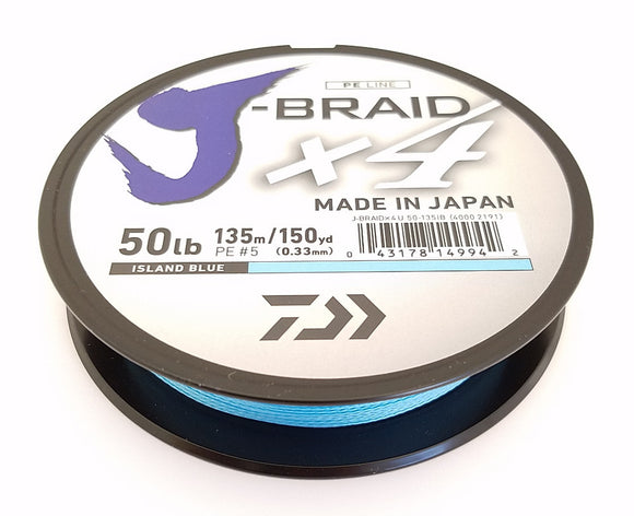 DAIWA J-BRAID X4 BRAIDED LINE 150 YARDS ISLAND BLUE