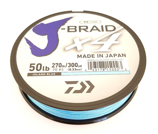 Daiwa J-Braid X4 Braided Line 300 Yards Island Blue