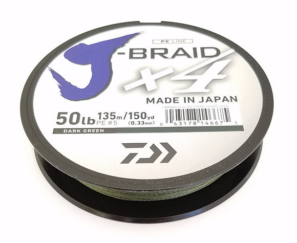 DAIWA J-BRAID X4 BRAIDED LINE 150 YARDS DARK GREEN