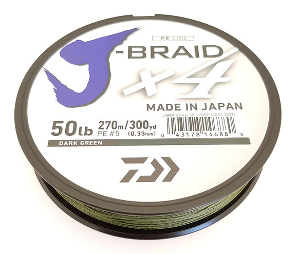 DAIWA J-BRAID X4 BRAIDED LINE 300 YARDS DARK GREEN