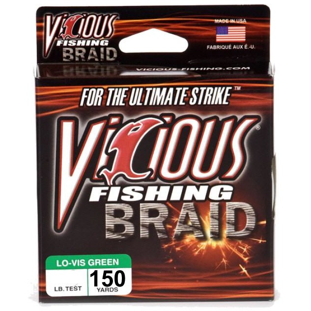Vicious Braid Fishing Line Lo-Vis Green 100-150 Yards