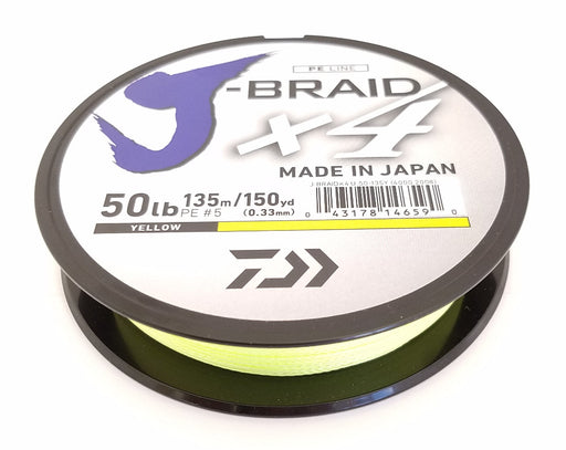 Daiwa J-Braid X4 Braided Line 150 Yards Fluorescent Yellow