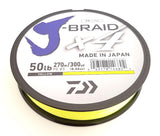 DAIWA J-BRAID X4 BRAIDED LINE 300 YARDS FLUORESCENT YELLOW