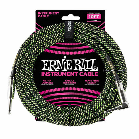 Ernie Ball Braided Instrument Cable, Black Green /10ft