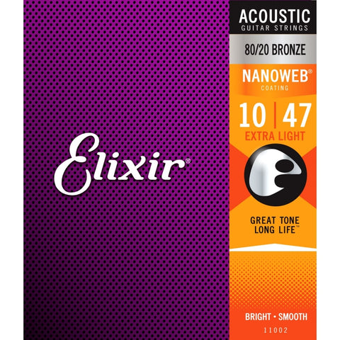 ELIXIR Nanoweb 80/20 Bronze Acoustic Guitar Strings 10-47 Extra Light Gauge