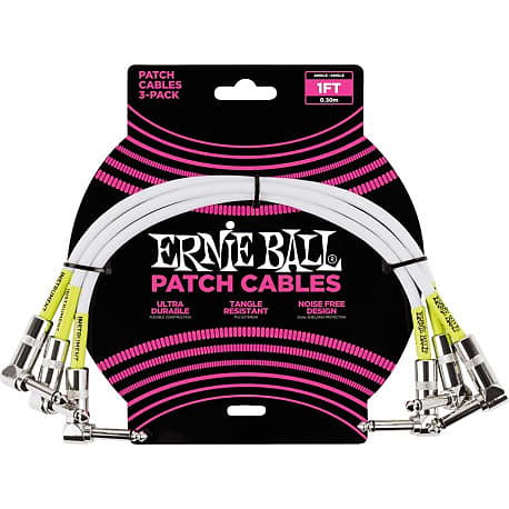 Ernie Ball 1ft Angle/Angle Patch Cable in White, 3-pack