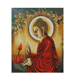Oil Painting -  Meditation (Roter Buddha)