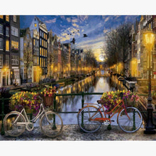 Lade das Bild in den Galerie-Viewer, Oil Painting - Amsterdam with bicycles