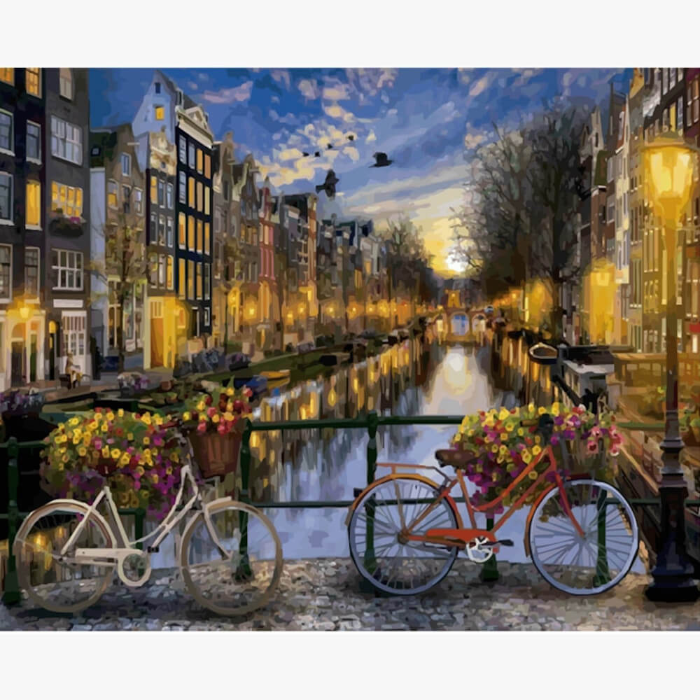 Oil Painting - Amsterdam with bicycles