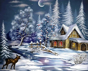 Oil Painting - Haus im Winter