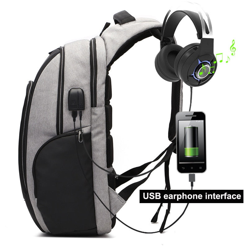 Men Bag Anti theft backpack USB Earphone Interface Laptop Backpacks Male Waterproof Travel Bag Reflective Stripe Schoolbag 2018 - BestBagShop