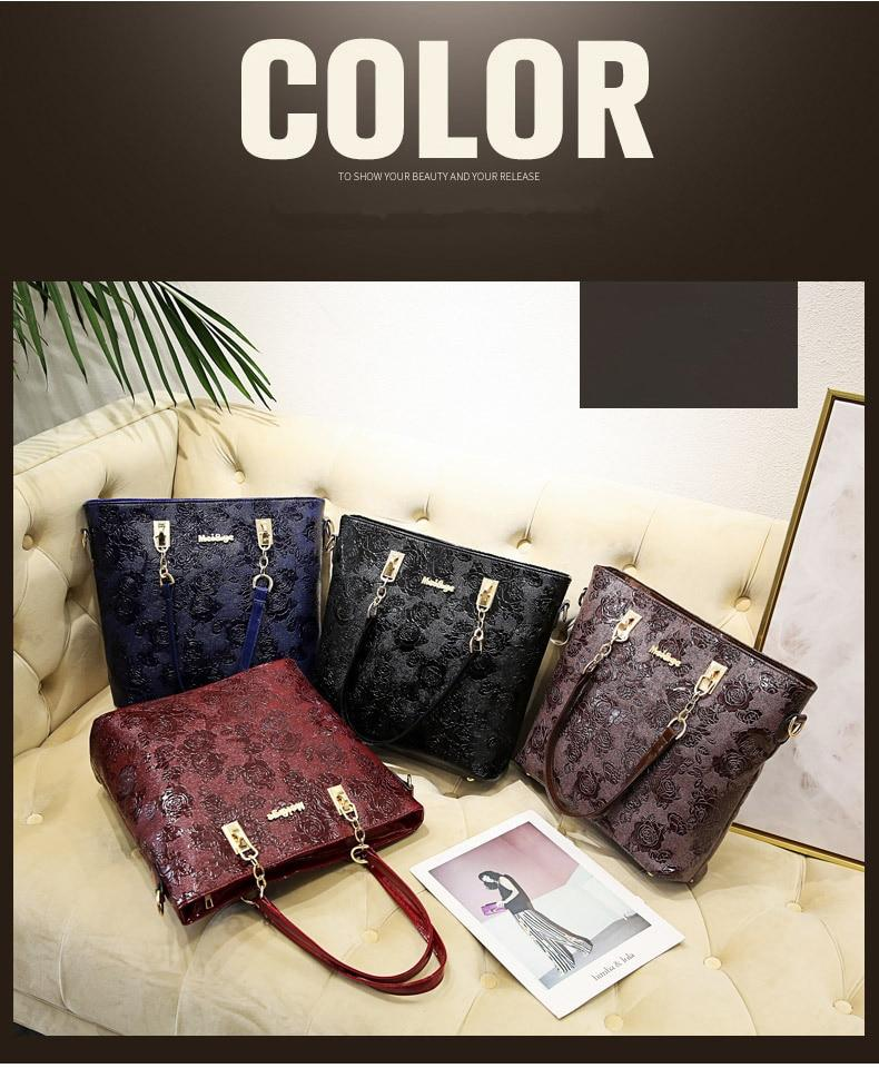 2020 fashion Chinese style rose print women bag patent leather luxury women handbags 6 pieces / set Female package Shoulder Bags - BestBagShop