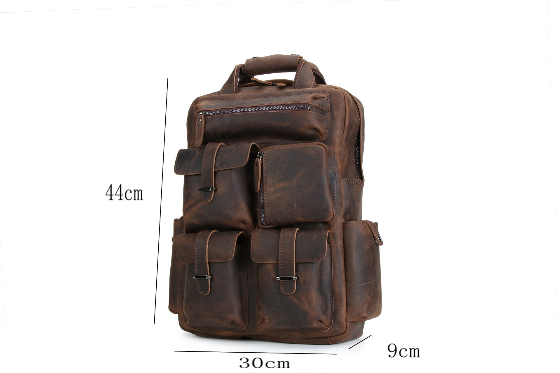 MAHEU Men's Leather Backpack Large Capacity Solf Original Cow Skin Leather Backpacks Functional Casual Packs For Man Cool Design - BestBagShop