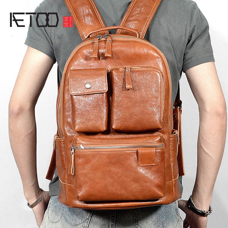 AETOO Leather men's double shoulder bag, casual business backpack, leather travel computer bag, large-capacity backpack - BestBagShop