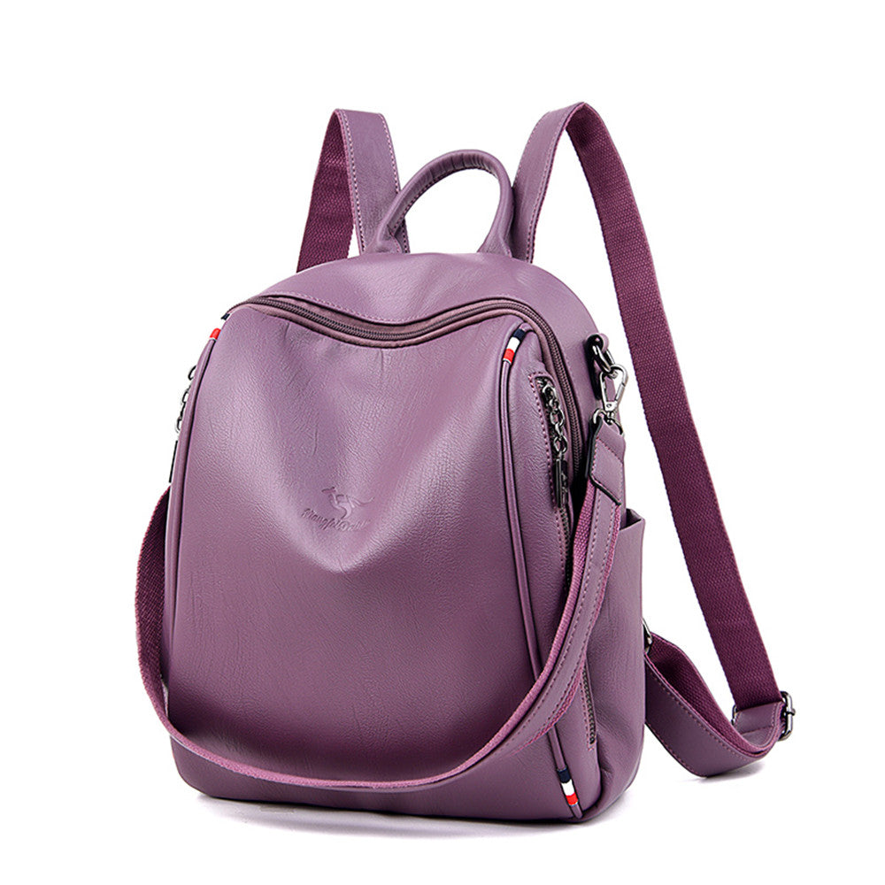 Side Zipper Decoration Multifunction Women Leather Backpack Female School Shoulder Bag Travel Backpack For Teenage Girls Mochila - BestBagShop