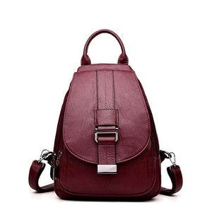 2019 Women Leather Backpacks Sac A Dos Vintage Female Backpack Travel Ladies Bagpack Preppy Mochilas School Bags For Girls New - BestBagShop