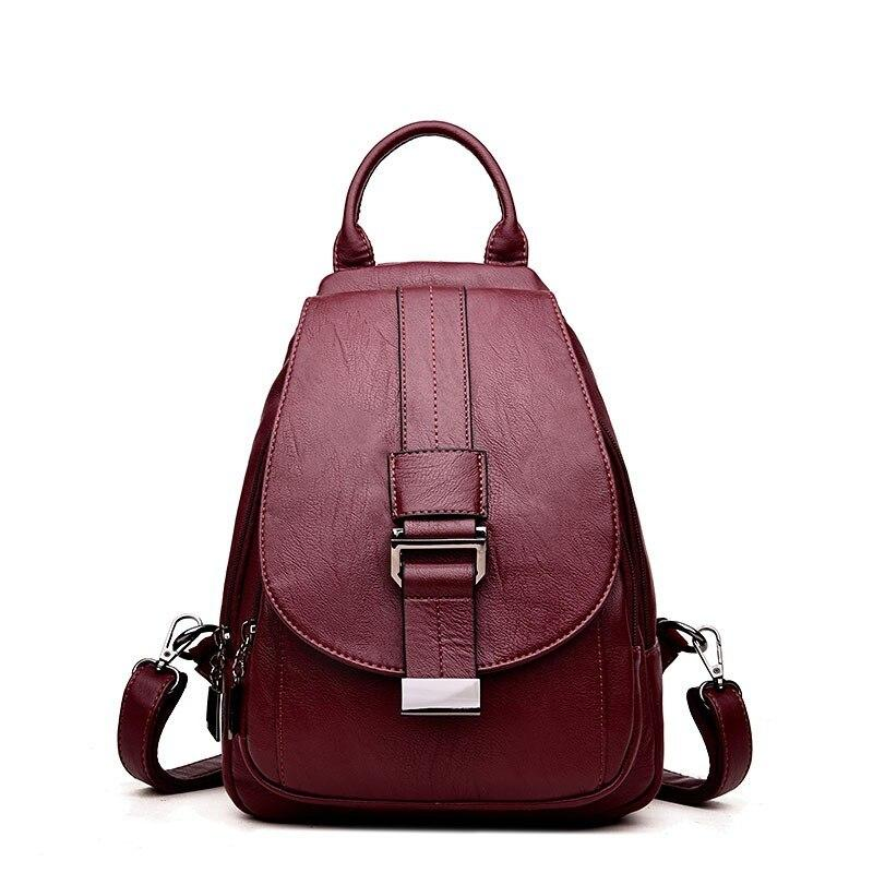 2020 Women Leather Backpacks Sac A Dos Vintage Female Backpack Travel Ladies Bagpack Preppy Mochilas School Bags For Girls New - BestBagShop