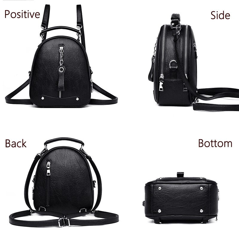 New 3 in 1 Fashion women leather backpacks for teenage girls mini luxurious women backpack travel backpack school bags Mochila - BestBagShop