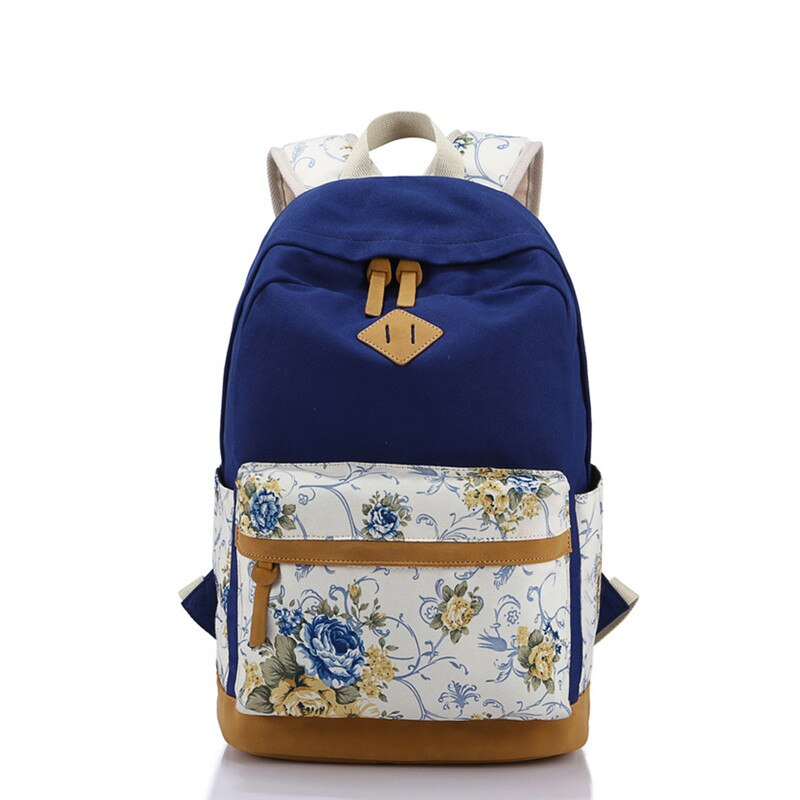 Hot Nubuck Leather Backpack Canvas School Backpacks Schoolbags for Teenage Girls Student Flower Printing Back Pack Travel Bag - BestBagShop