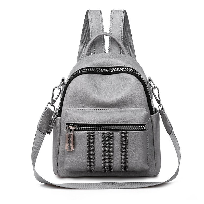 Vfemage New Leather Backpack Women Shoulder Bag Female Small Backpacks Fashion Schoolbags for Girls Multifunction Backpacks Sac - BestBagShop