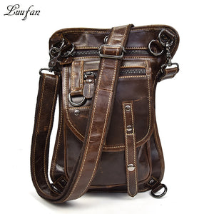 Men's Genuine Leather Travel Motorcycle Messenger Shoulder Hip Belt Waist Bag Real leather waist bag Drop Leg Bag riding bag - BestBagShop