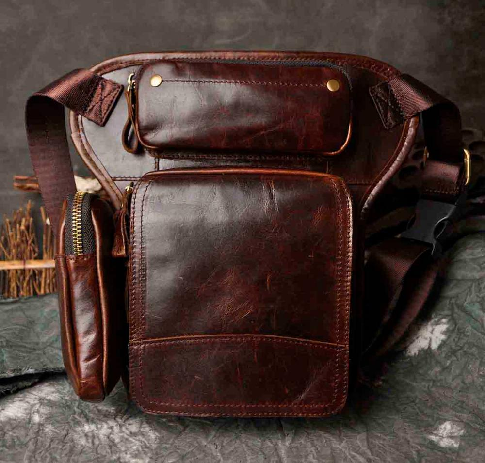 Hot Sale Crazy Horse Real Leather Design men vintage Cool Small Belt Messenger Bag Waist Pack Drop Leg Bag Pouch 3108 - BestBagShop