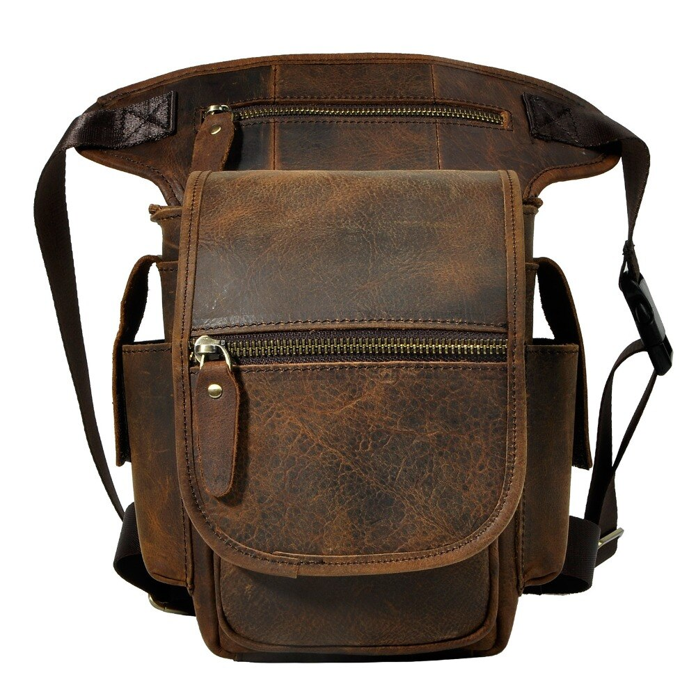 Leather Design Men Multi Function Messenger Satchel Mochila Bag Fashion Organizer Fanny Waist Belt Pack Drop Leg Bag 3110-d - BestBagShop