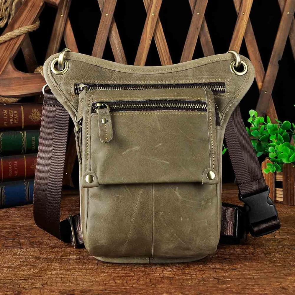 Crazy Horse Leather men Multifunction Design Small Messenger Bag Fashion Travel Belt Waist Pack Drop Leg Bag Pouch Male 211-4bu - BestBagShop