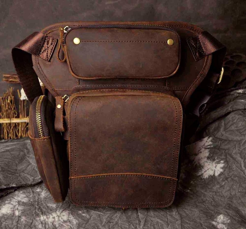 Hot Sale Real Leather Design men Multifunction Drop Leg Bag Pouch Fashion Cool Small Belt Pack Messenger Bag Waist Pack 3108b - BestBagShop