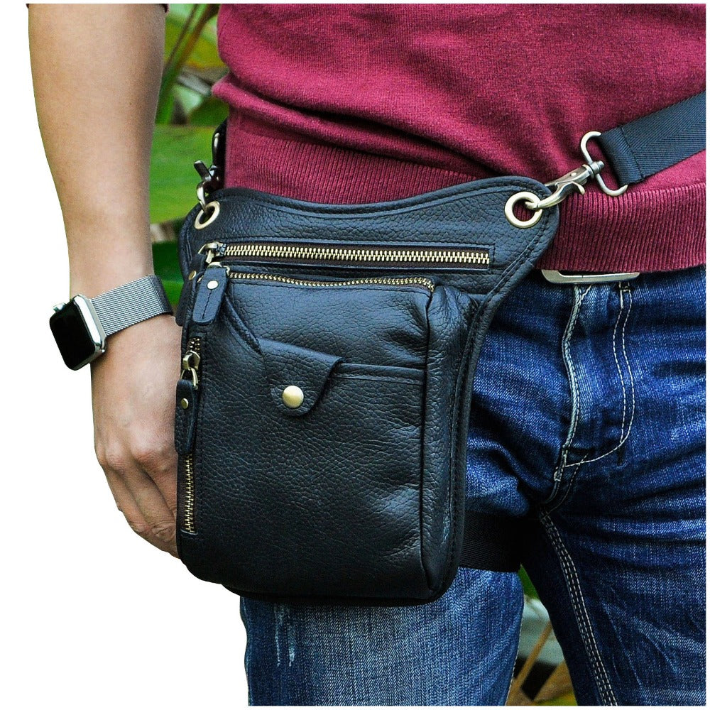 Top Quality Crazy Horse Real Leather men Fashion Black Small Belt Pack Messenger Bag Waist Pack Drop Leg Bag Pouch 211-5-b - BestBagShop