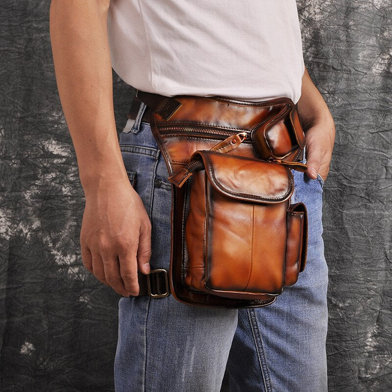 Original Leather Design Men Multi Function Casual Shoulder Messenger Bag Fashion Fanny Waist Belt Pack Drop Leg Bag Pouch 3106-g - BestBagShop