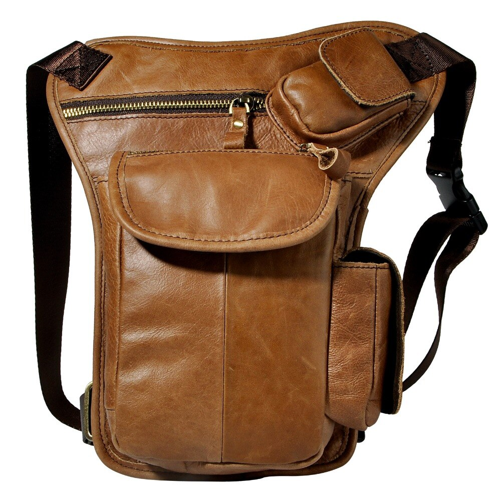 Original Leather Design Men Multi Function Casual Shoulder Messenger Bag Fashion Waist Belt Pack Drop Leg Bag Tablet Pouch 3106l - BestBagShop