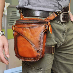 "Unisex Fashion Crazy Horse Quality Leather 7"" Motorcycle Riding Drop Leg Bag Design Travel Fanny Belt Waist Pack Case 9326-or - BestBagShop"