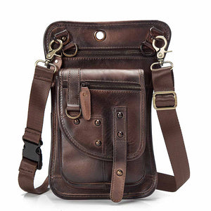 "Genuine Leather Design Men Casual Messenger Shoulder Bag Fashion Fanny Belt Waist Pack Drop Leg Bag 8"" Tablets Pouch 2141LC - BestBagShop"