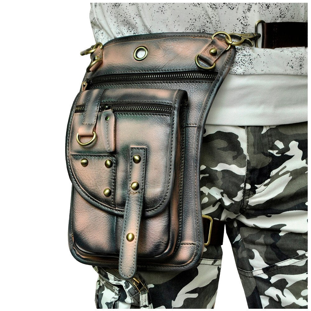 "Original Leather Design Men Casual Messenger Shoulder Bag Fashion Fanny Belt Waist Pack Drop Leg Bag 8"" Tablets Pouch 2141LA - BestBagShop"