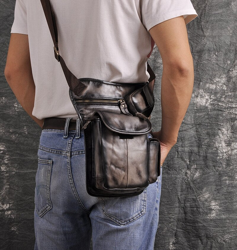 Leather Design Men Multi Function Casual Shoulder Messenger Bag Fashion Travel Waist Belt Pack Drop Leg Bag Tablet Pouch 3106-b - BestBagShop