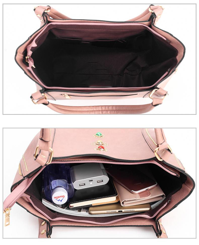 Women Handbags 2020 new Handheld Women's Bag Fashion Rivet Package Factory Sales Bags Shoulder Bag 4 Pcs/set Composite Bag - BestBagShop