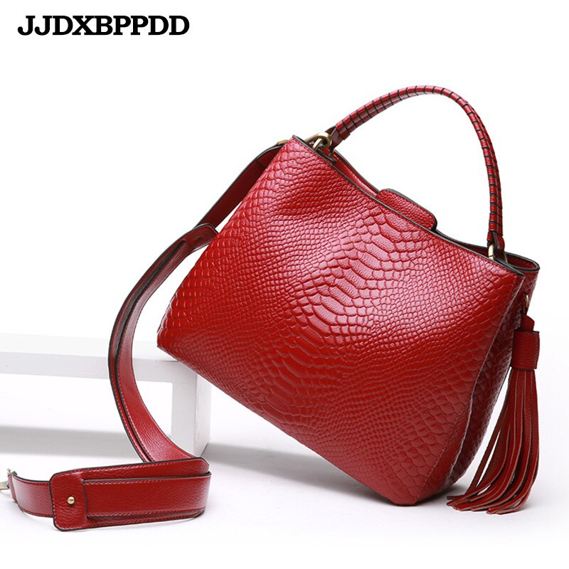 Women Bags Shoulder Handbags Large Capacity Women's Handbags Shoulder Messenger bags Crocodile Pattern Genuine Leather Bag - BestBagShop