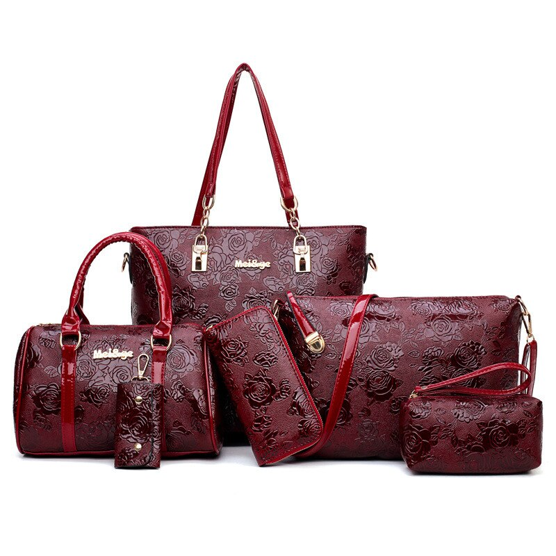 2019 fashion Chinese style rose print women bag patent leather luxury women handbags 6 pieces / set Female package Shoulder Bags - BestBagShop