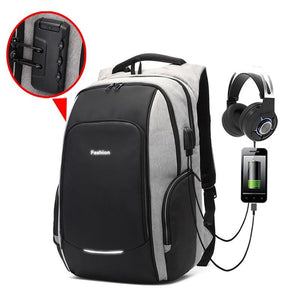 Men Bag Anti theft backpack USB Earphone Interface Laptop Backpacks Male Waterproof Travel Bag Reflective Stripe Schoolbag 2020 - BestBagShop