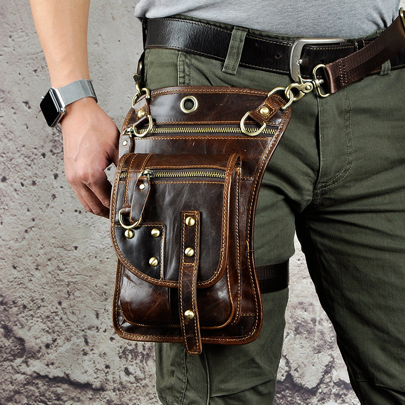 Original Leather Design Multi Function Men Casual Messenger Mochila Bag Fashion Belt Waist Pack Drop Leg Bag Tablets Pouch 2141l - BestBagShop