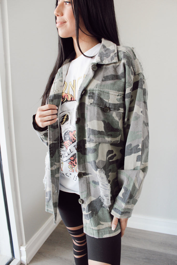 Camo Distressed Jacket