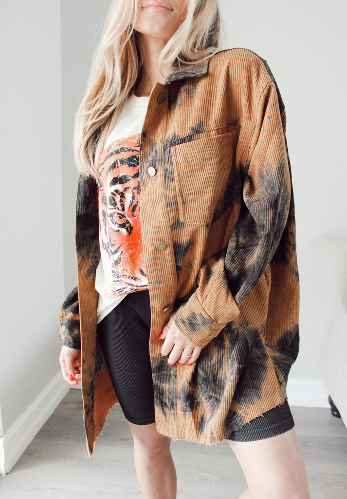 Dazed Bleached Shacket - Kailyn Lowry Collection
