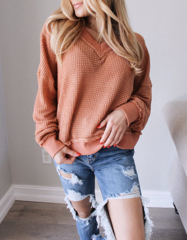 Paige oversized Sweater - RED BEAN