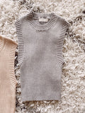Danielle Ribbed Top - Grey
