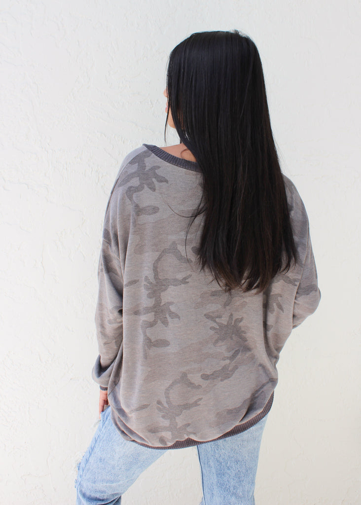 Camo Oversized  Pullover