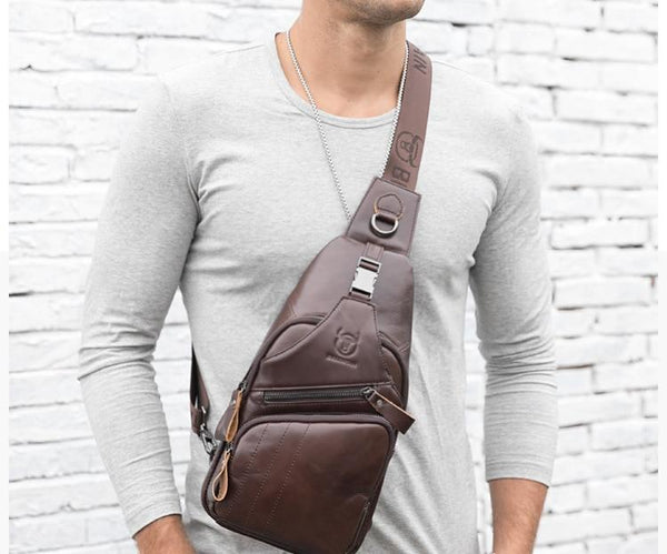 Genuine Leather Casual Crossbody Bag For Men!